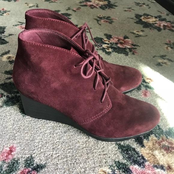 478c99d988c Clarks Shoes - Clark s  Suede Lace Up Wedge Bootie